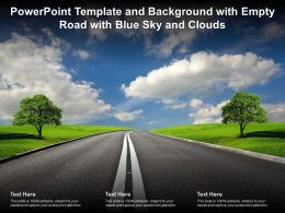 Powerpoint Template And Background With Empty Road With Blue Sky And Clouds
