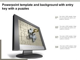 Powerpoint Template And Background With Entry Key With A Puzzles
