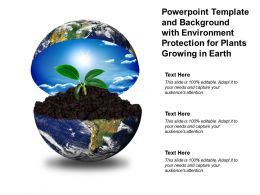 Powerpoint Template And Background With Environment Protection For Plants Growing In Earth