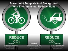 Powerpoint Template And Background With Environmental Reduce Signs