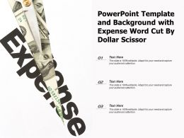 Powerpoint Template And Background With Expense Word Cut By Dollar Scissor