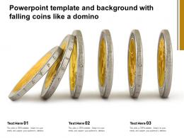 Powerpoint Template And Background With Falling Coins Like A Domino