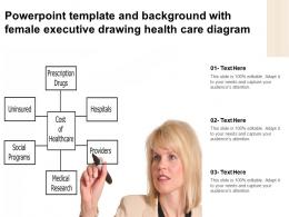 Powerpoint Template And Background With Female Executive Drawing Health Care Diagram