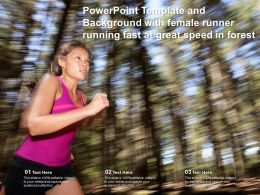 Powerpoint Template And Background With Female Runner Running Fast At Great Speed In Forest
