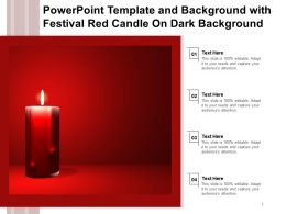 Powerpoint Template And Background With Festival Red Candle On Dark Background