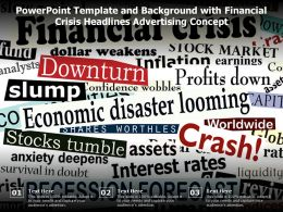 Powerpoint Template And Background With Financial Crisis Headlines Advertising Concept