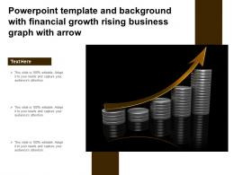 Powerpoint Template And Background With Financial Growth Rising Business Graph With Arrow