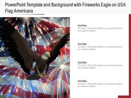 Powerpoint Template And Background With Fireworks Eagle On USA Flag Americana