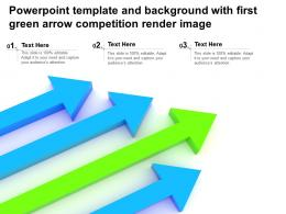 Powerpoint Template And Background With First Green Arrow Competition Render Image