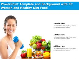 Powerpoint Template And Background With Fit Woman And Healthy Diet Food