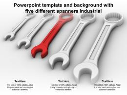 Powerpoint Template And Background With Five Different Spanners Industrial