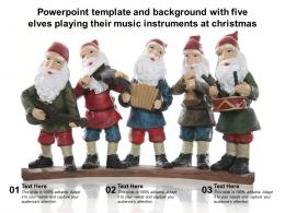 Powerpoint Template And Background With Five Elves Playing Their Music Instruments At Christmas