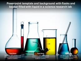 Powerpoint Template And Background With Flasks And Beaker Filled With Liquid In A Science Research Lab