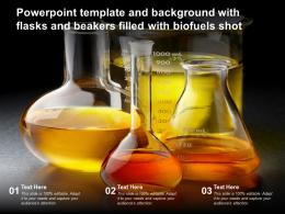 Powerpoint Template And Background With Flasks And Beakers Filled With Biofuels Shot