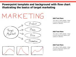 Powerpoint Template And Background With Flow Chart Illustrating The Basics Of Target Marketing