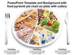 Powerpoint Template And Background With Food Pyramid Pie Chart On Plate With Cutlery