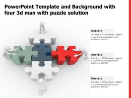 Powerpoint Template And Background With Four 3d Man With Puzzle Solution