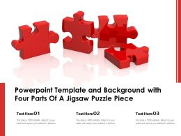 Powerpoint Template And Background With Four Parts Of A Jigsaw Puzzle Piece
