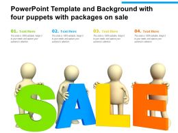 Powerpoint Template And Background With Four Puppets With Packages On Sale