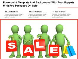 Powerpoint Template And Background With Four Puppets With Red Packages On Sale