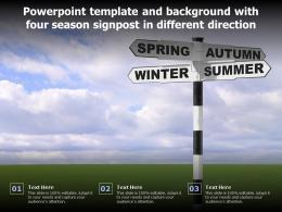 Powerpoint Template And Background With Four Season Signpost In Different Direction