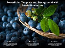 Powerpoint Template And Background With Fresh Blueberries