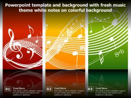 Powerpoint Template And Background With Fresh Music Theme White Notes On Colorful Background