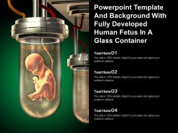 Powerpoint Template And Background With Fully Developed Human Fetus In A Glass Container