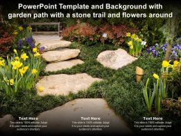 Powerpoint Template And Background With Garden Path With A Stone Trail And Flowers Around