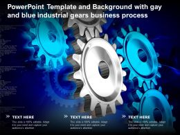 Powerpoint Template And Background With Gay And Blue Industrial Gears Business Process