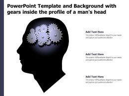 Powerpoint Template And Background With Gears Inside The Profile Of A Mans Head