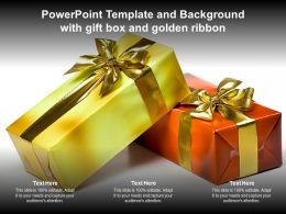 Powerpoint Template And Background With Gift Box And Golden Ribbon