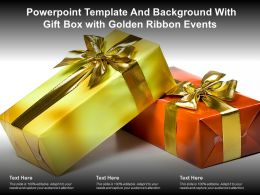 Powerpoint Template And Background With Gift Box With Golden Ribbon Events