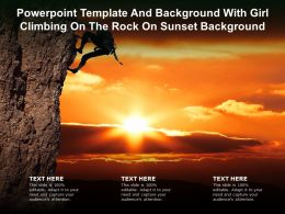 Powerpoint Template And Background With Girl Climbing On The Rock On Sunset Background