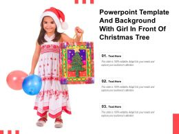 Powerpoint Template And Background With Girl In Front Of Christmas Tree