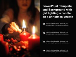 Powerpoint Template And Background With Girl Lighting A Candle On A Christmas Wreath
