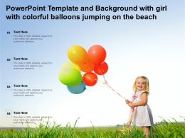 Powerpoint Template And Background With Girl With Colorful Balloons Jumping On The Beach