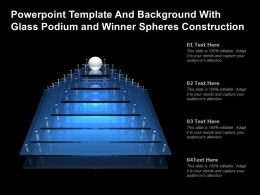 Powerpoint Template And Background With Glass Podium And Winner Spheres Construction