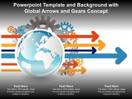 Powerpoint Template And Background With Global Arrows And Gears Concept