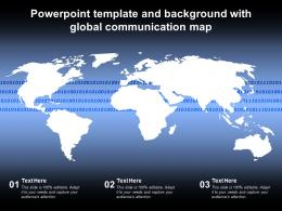Powerpoint Template And Background With Global Communication Map