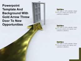 Powerpoint Template And Background With Gold Arrow Threw Door To New Opportunities