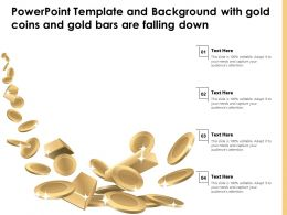 Powerpoint Template And Background With Gold Coins And Gold Bars Are Falling Down