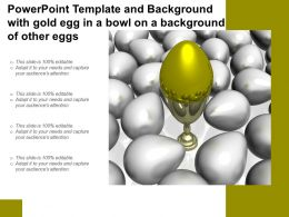 Powerpoint Template And Background With Gold Egg In A Bowl On A Background Of Other Eggs