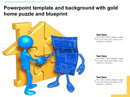 Powerpoint Template And Background With Gold Home Puzzle And Blueprint