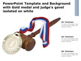 Powerpoint Template And Background With Gold Medal And Judges Gavel Isolated On White