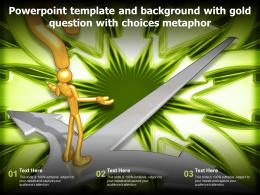 Powerpoint Template And Background With Gold Question With Choices Metaphor