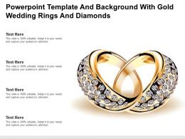 Powerpoint Template And Background With Gold Wedding Rings And Diamonds
