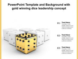 Powerpoint Template And Background With Gold Winning Dice Leadership Concept