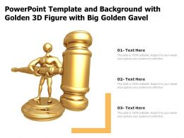 Powerpoint Template And Background With Golden 3d Figure With Big Golden Gavel