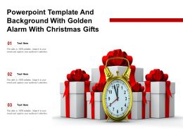 Powerpoint Template And Background With Golden Alarm With Christmas Gifts